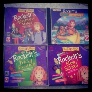 Covers of four Rockett games from Purple Moon studios